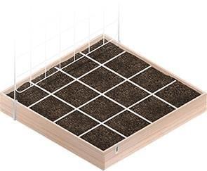 Dividing up the planter into a gridded plot