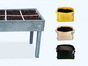 Choose your grow bags and garden boxes.